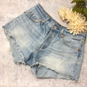 Levi's 501 Lightwash Cutoff Denim Shorts Size 24